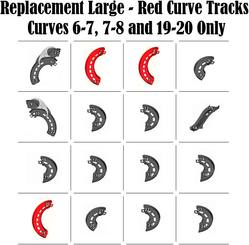 Red Curve Tracks ~ Curves 6-7 7-8 and 19-20 Fisher-Price Garage Playset FHG51 ~ Replacement Large Replacement Parts for Little People Take Turns Skyway