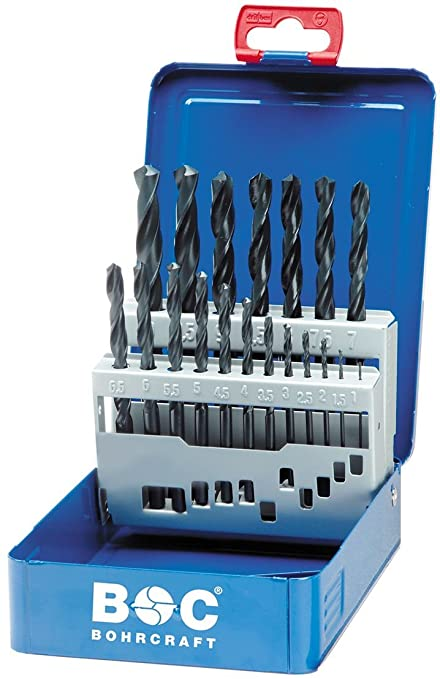 8fc1976a2b18 Bohrcraft Rolled HSS Spiral Drill Bit Set DIN 338 Type N in BC Industry Box  19 Pieces 1-10 mm x 0.5 mm