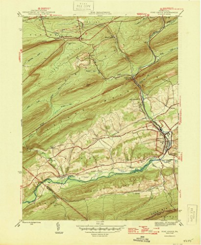 Pennsylvania Maps | 1946 Pine Grove, PA USGS Historical Topographic Map | Cartography Wall Art | 44in x 55in