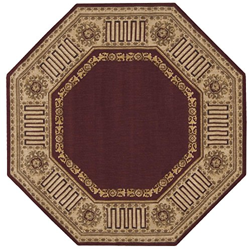 Nourison Vallencierre Burgundy Octagon Area Rug, 5-Feet 6-Inches by 5-Feet 6-Inches 5 6 x 5 6
