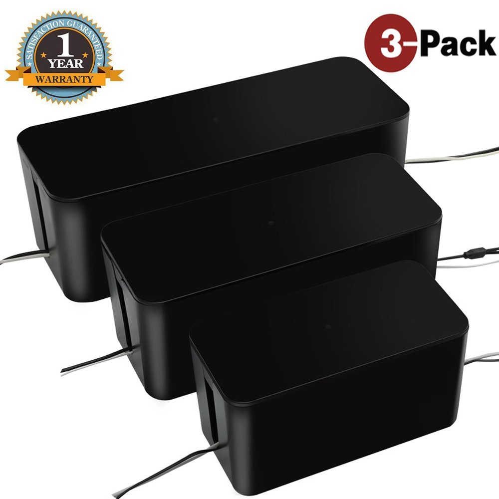 [Set of Three]Cable Management Boxes Organizer,Large Storage Holder for Desk, TV, Computer, USB Hub, System to Cover and Hide & Power Strips & Cords(Black)