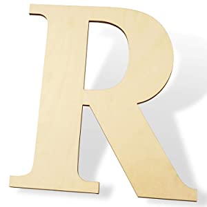 """12 inch Wooden Letters R - Blank Wood Board, Wood Letters for Walls Decor, Party, DIY Craft Projects (12"""" - 1/4"""" Thick, R)"""
