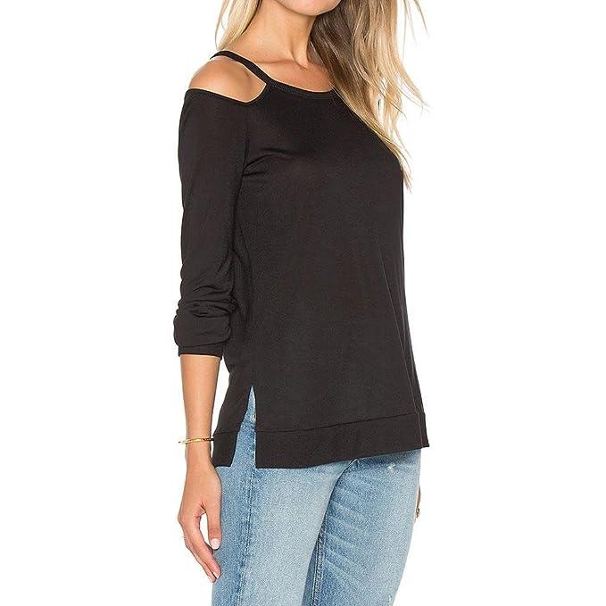 Vin beauty wlgreatsp Mujer Hombro Irregular Tapa Floja Blusas de la Camiseta del Puente Pullover