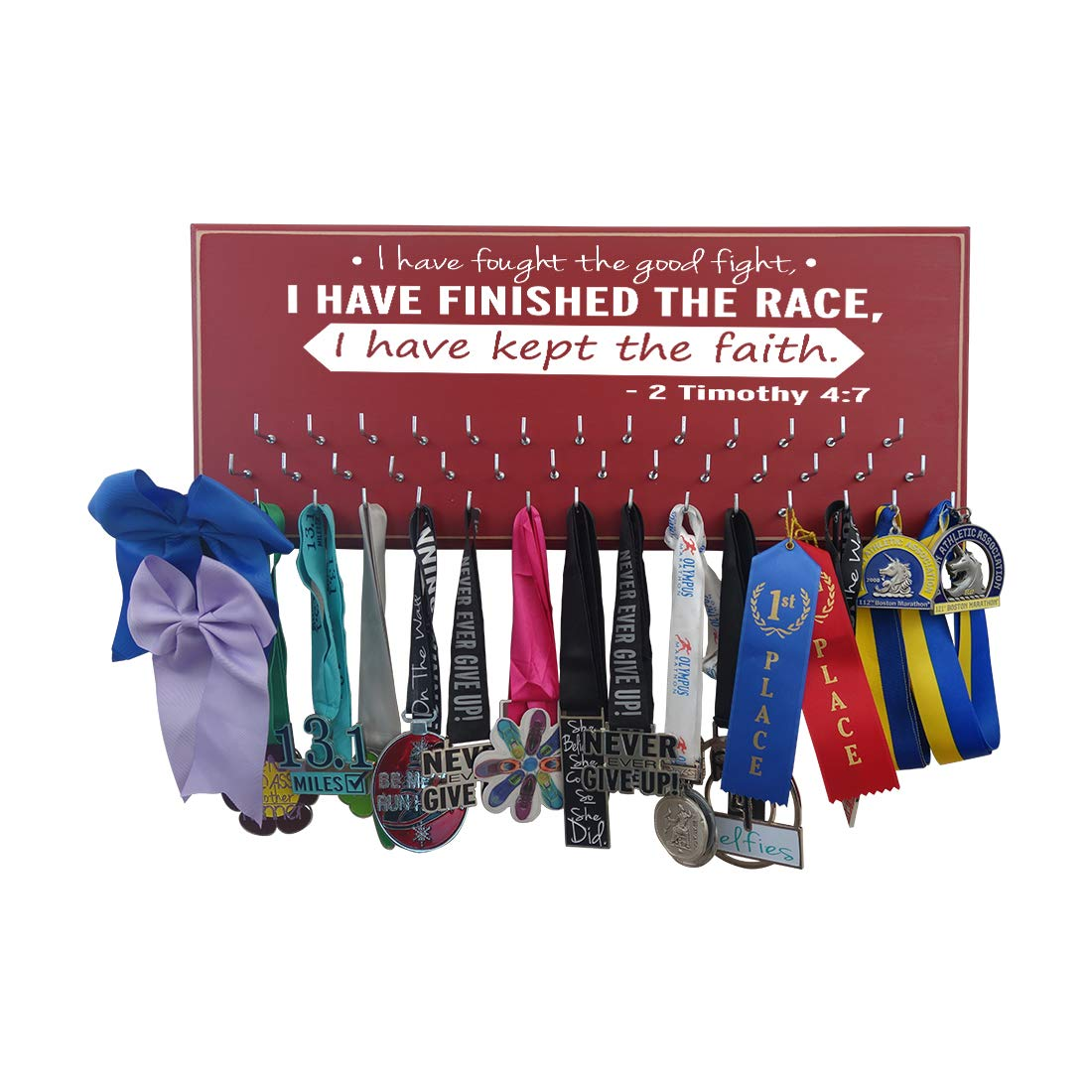Running on the wall-gifts for runners-marathon Medal display-medalラックfor running- Awardsハンガー – 壁マウントholder-「私が戦ったA Good Fight。。。- - - - - - - 2 Timothy 4 : 7