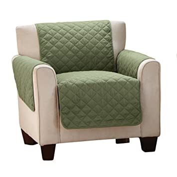 Reversible Quilted Furniture Protector Cover, Chocolate/Tan, Olive/Sage,  Chair