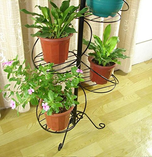Pot Stand Designs : White spiral design tier metal planter holder display