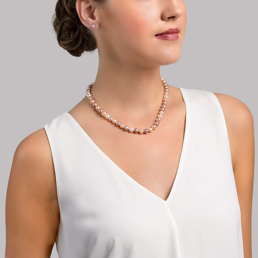 THE PEARL SOURCE 14K Gold Multicolor Freshwater Cultured Pearl Necklace for Women in 18 Princess Length