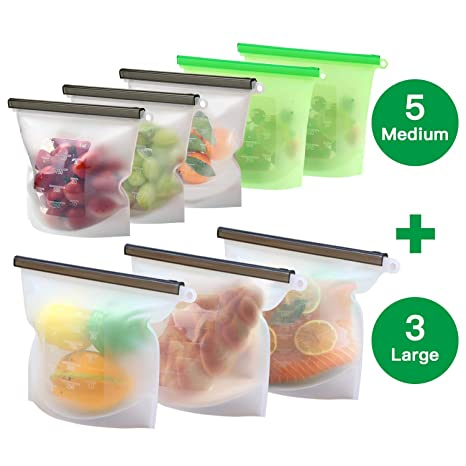 Bolsa Reutilizable de Silicona para Alimentos (3 grande y 5 medianas), Bolsa para cocinar, almuerzo, sándwich,Bolsa de Conservación con Sello ...