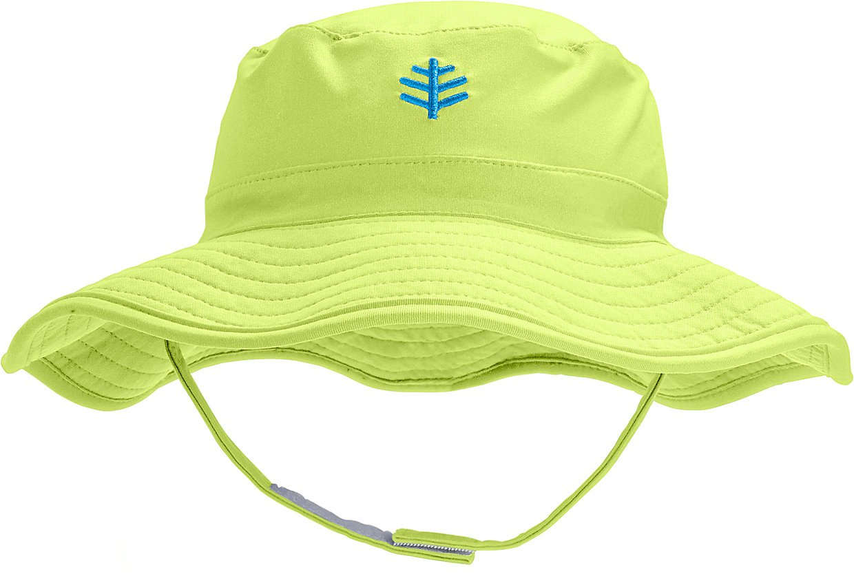 Coolibar UPF 50+ Baby Splashy Bucket Hat - Sun Protective (6-12 Months- Bright Lime)