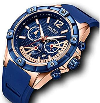 chronograph blue gold watches