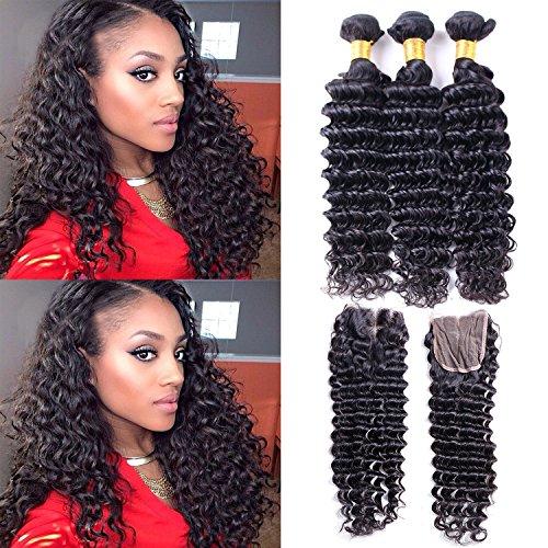 Brazilian Deep Wave Hair 3 Bundles With Closure 7a Unprocess