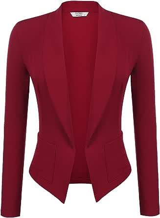SoTeer Womens Casual Blazer Work Office Open Front Slim Fit Jacket