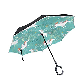 Mnsruu - Paraguas invertido de Doble Capa con Unicornios Blancos en Azul Claro y Plegable con