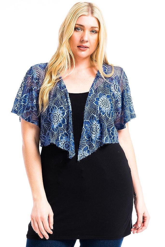 Modern Kiwi Women's Plus Size Cascading Short Sleeve Bolero Cardigan (1X-4X) TBR-1279