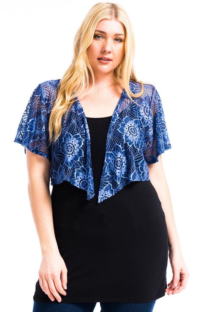 Modern Kiwi Cascading Short Sleeve Bolero Cardigan Blue Lace 4X