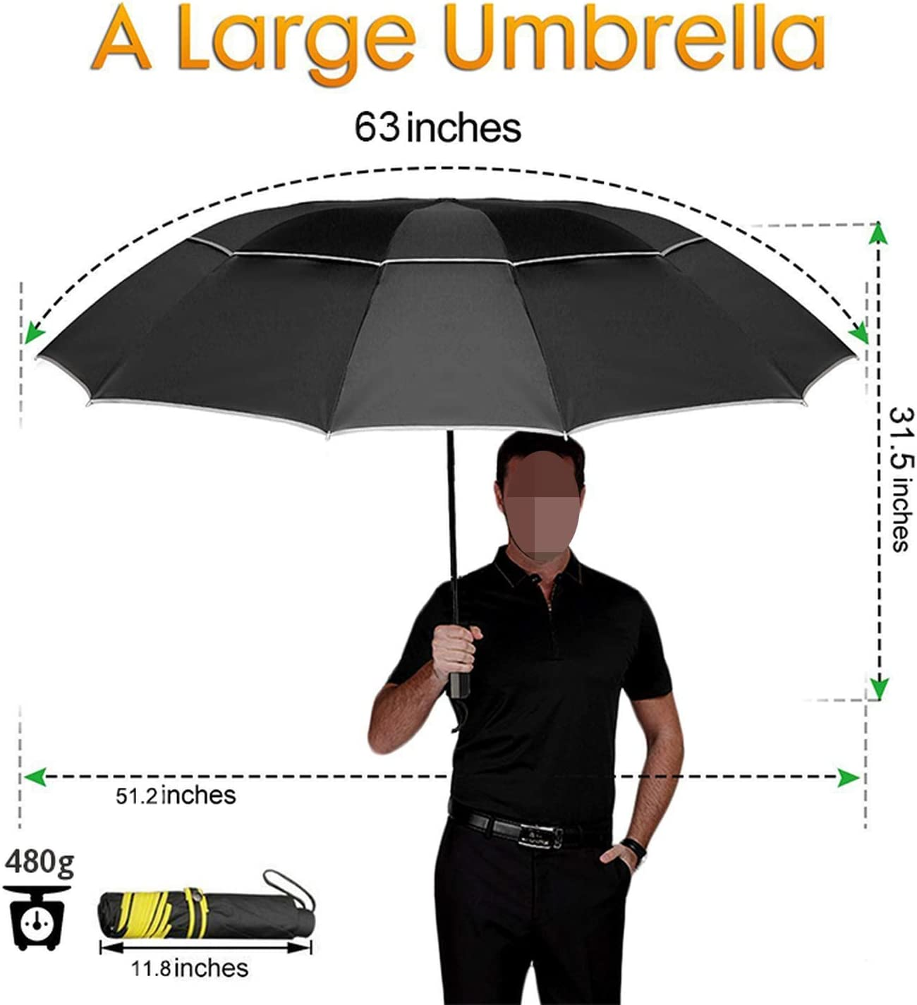 42 Inches Ladies 10 Ribs Rainproof Automatic Opening and Closing,Abstract Low Poly Background,Windproof RLDSESS Abstract Compact Patio Umbrella Men