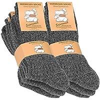 6 Paia di Calzettoni Norvegesi caldi Calze di Lana Inverno per le gli Uomo, Colore: antracite