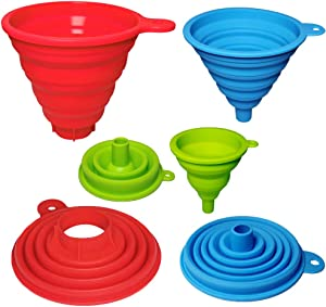 Kitchen Funnels Set of 3, Large Wide Mouth Medium Small - 3 Size, Collapsible Canning Bottle Funnels for Filling Food Protein Sauce Oil, Food Grade Silicone Funnels