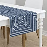 Table Runner - Blue and White Asian Lonely Angel Chinese Woodblock Ikat Bandana by Peacoquettedesigns - Cotton Sateen Table Runner 16 x 72