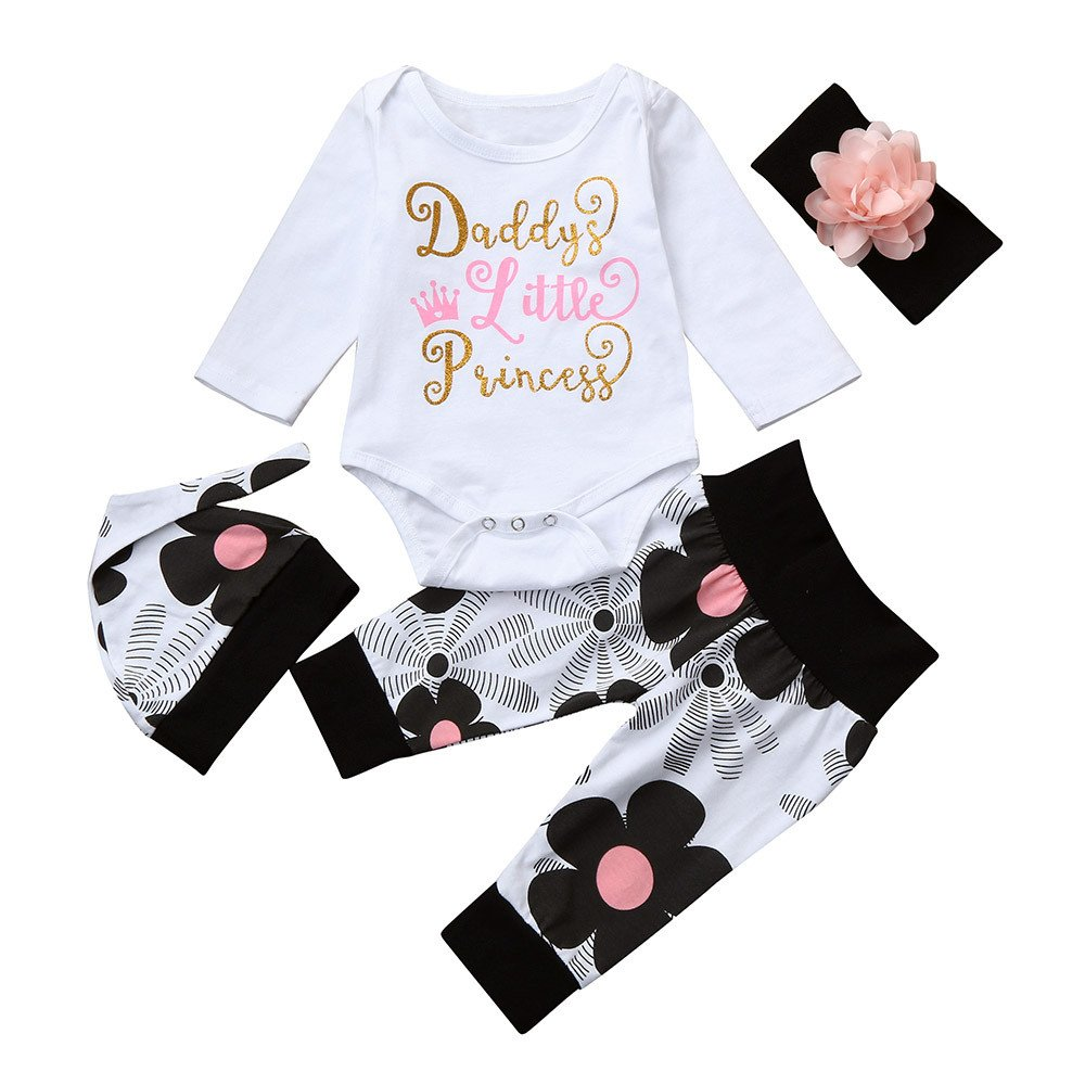 ❤️Mealeaf❤️ Baby Boys and Girls Clothes with Newborn Infant Baby Girl Letter Romper Tops+Floral Pants Hat 4Pcs Clothes Set (0-3 Months Old, White) meal-leaf