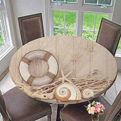 PINAFORE HOME Circular Table Cover Life Buoy Decoration on White Shabby Background for Wedding/Banquet 35.5