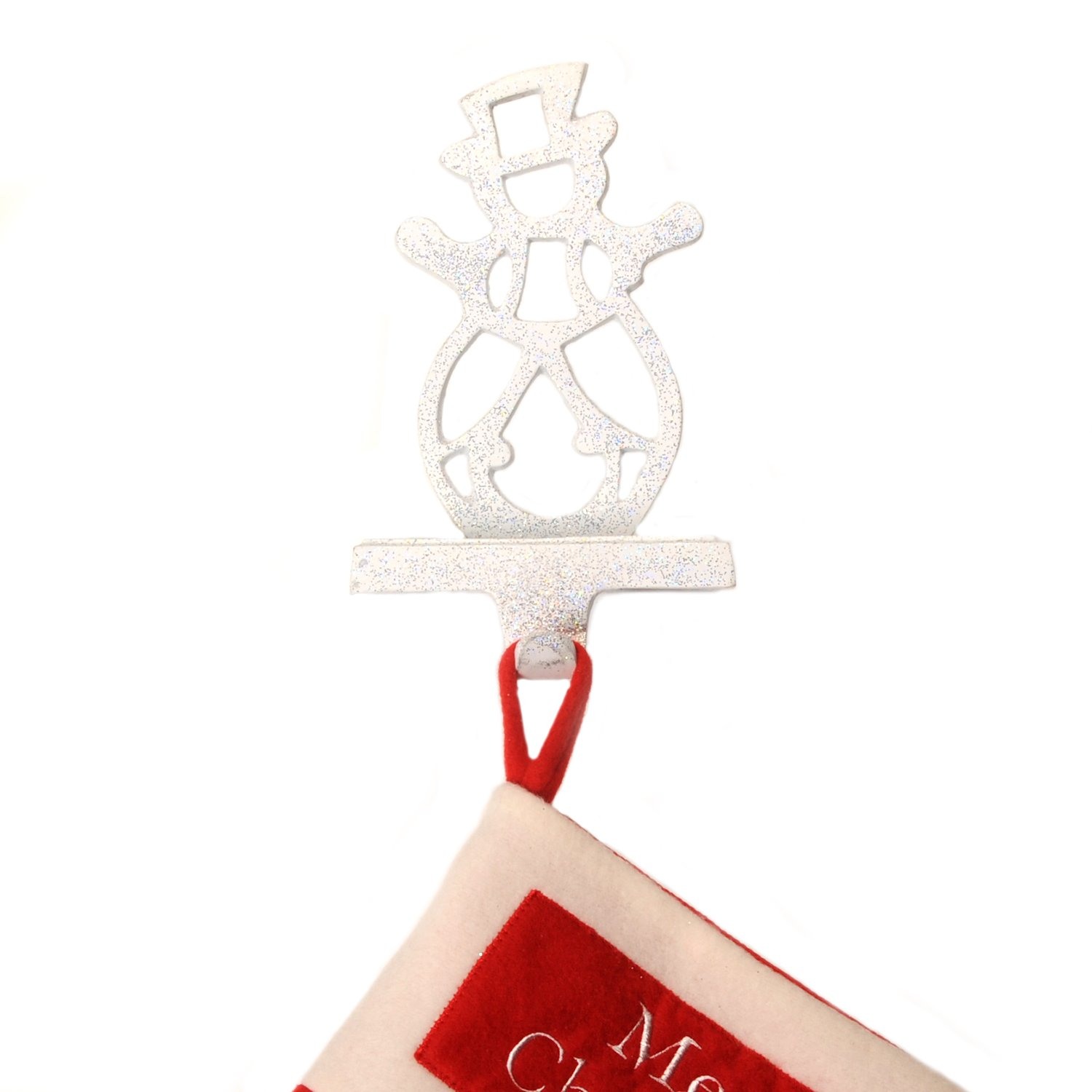 Cut Out Snowman Christmas Stocking Hanger, White with Silver Glitter