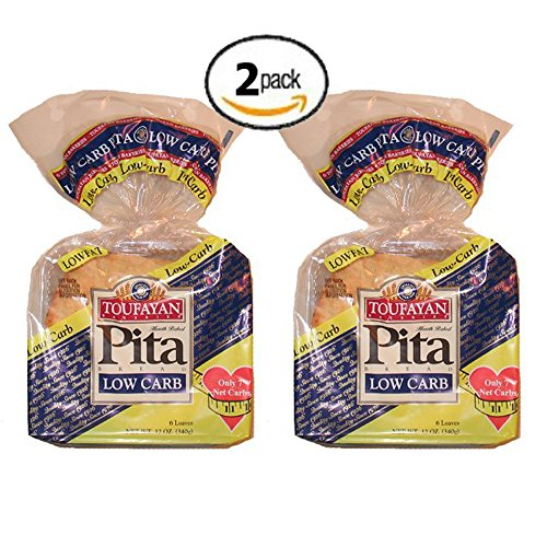2 Pack Value: Toufayan Bakeries Low Carb Pita Bread, 12 Loaves Total - Low Carb Pita Bread
