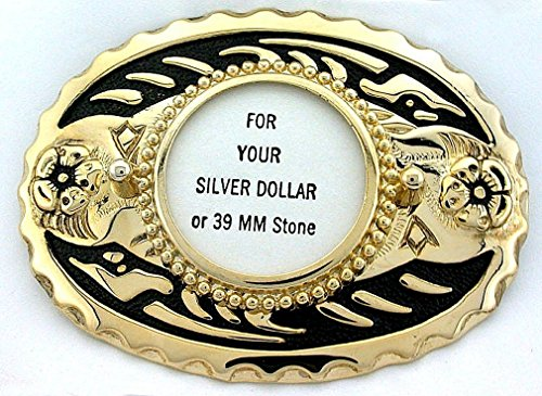 Dollar Buckle (Silver Dollar 39mm Cabochon Cab Gold Plated Oval Goldplated Belt Buckle Mounting)