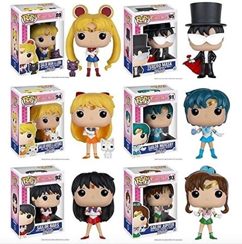 Funko POP! Sailor Moon: Sailor Mercury / Sailor Mars / Sailor Jupiter / Sailor Venus / Tuxedo Mask + Sailor Moon - Vinyl Figure Anime 6 Pack Set NEW