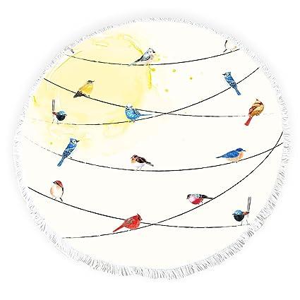 Yun Nist Toallas de Playa Redondas con borlas de Pájaros en el Alambre Flecos Círculo Grueso