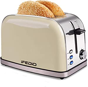 Toaster 2 Slice Best Rated Prime Stainless Steel Retro Bread Toasters with Bagel, Defrost, Cancel Function 7 Bread Shade Settings and Removable Crumb Tray Extra Wide Slots Toaster(White)