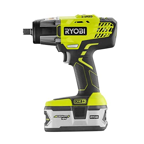 Ryobi P1830 Impact Wrench Kit 18V One 3 Speed 1 2 in with Dual Chemistry Charger and High Capacity Battery