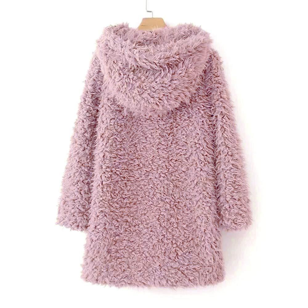 Kobay Manteaux Femme, Manteau de Laine Artificielle Chaud Manteau de Laine pour Femme Manteau d'hiver Rose