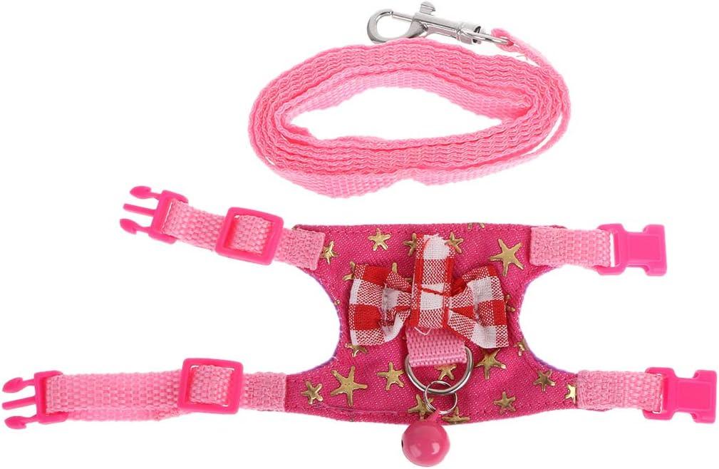 ECMQS hámster/Conejo–Arnés–Conjunto de Laisse–para Muelle/de cobaya/pequeño Animal doméstico–Cinturón Thoracique, Rosa, S