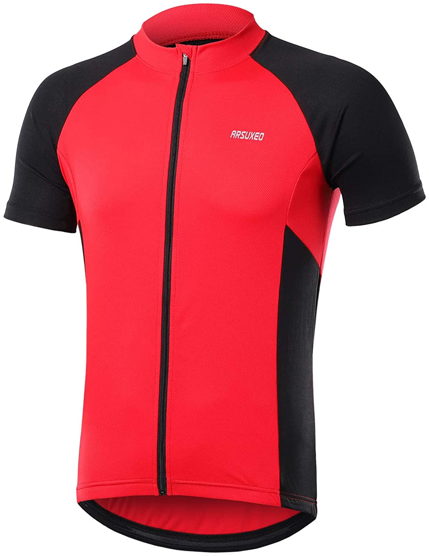 ARSUXEO Mens Short Sleeves Cycling Jersey Bicycle MTB Bike Shirt Zipper Pocket 655