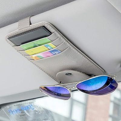 MLOVESIE Leather Car Visor Sunglasses Holder Sun Visor Credit Card Organizer Universal Fit (Gray New): Automotive