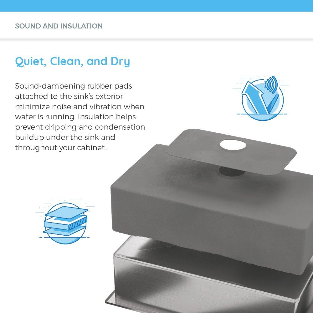 Bundle - 3 Items: Sink, Basket Strainer, and Sink Grid MR Direct 1823-ENS 1823 18 Gauge Stainless Steel Kitchen Ensemble