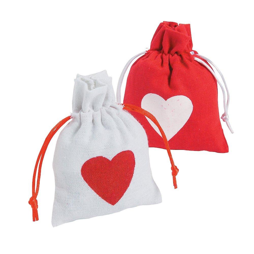 6 x Herz Beutel Sack Tasche Hochzeit Geburtstag Taufe Weihnachten Schmuck Adventskalender Canvas Gastgeschenk Elfen und Zwerge