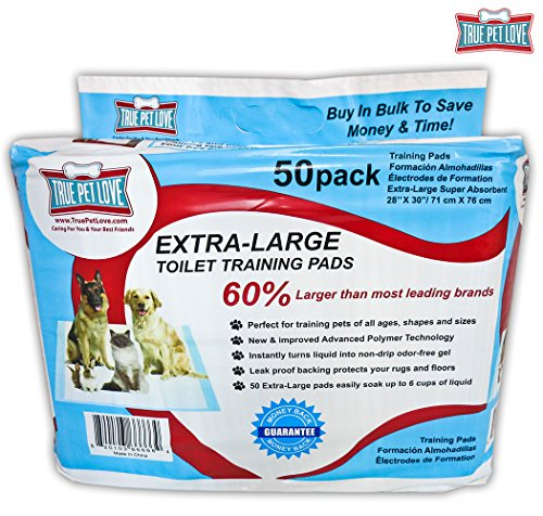 Extra Large Pet Wee Pads – Housebreaking Pads for Small to Large Dogs – Piddle Pads for Dogs Stuck Indoors – Waterproof Puppy Pads Dog Training – 50 Odor Control Pee Wee Pads, by True Pet Love For Sale