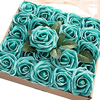 Ling's moment Artificial Flowers 50pcs Real Looking Teal Green Fake Roses w/Stem for DIY Wedding Bouquets Centerpieces Bridal Shower Party Home Decorations