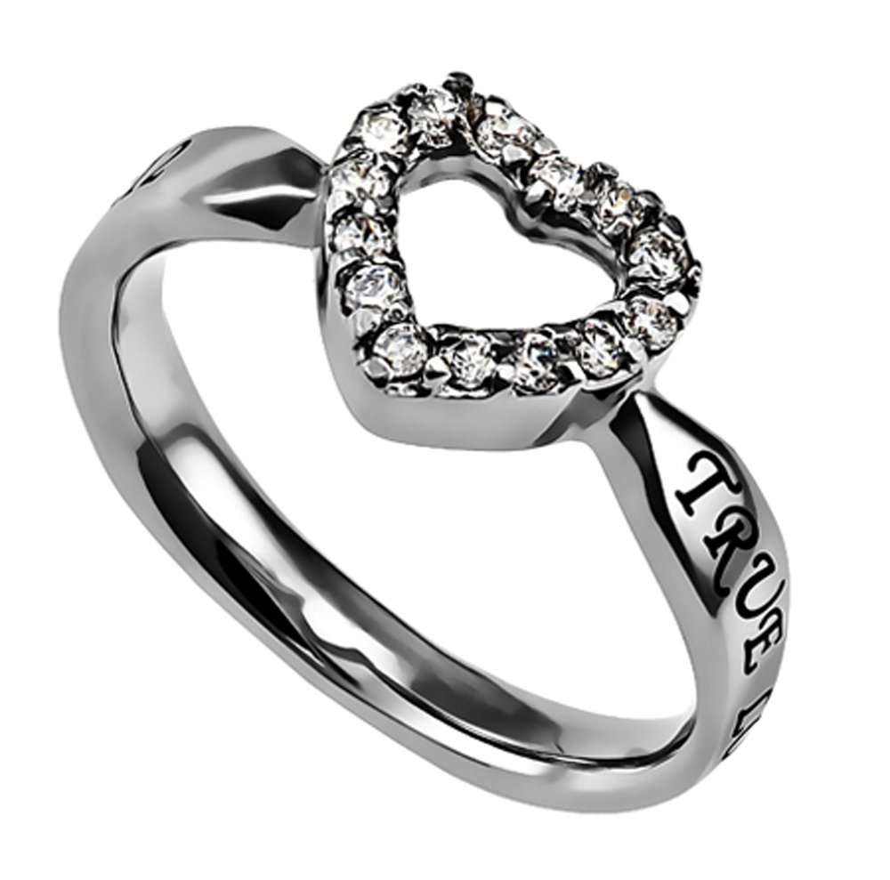 Women's Cubic Zirconium Stainless Steel Open Heart True Love Waits Ring (6)