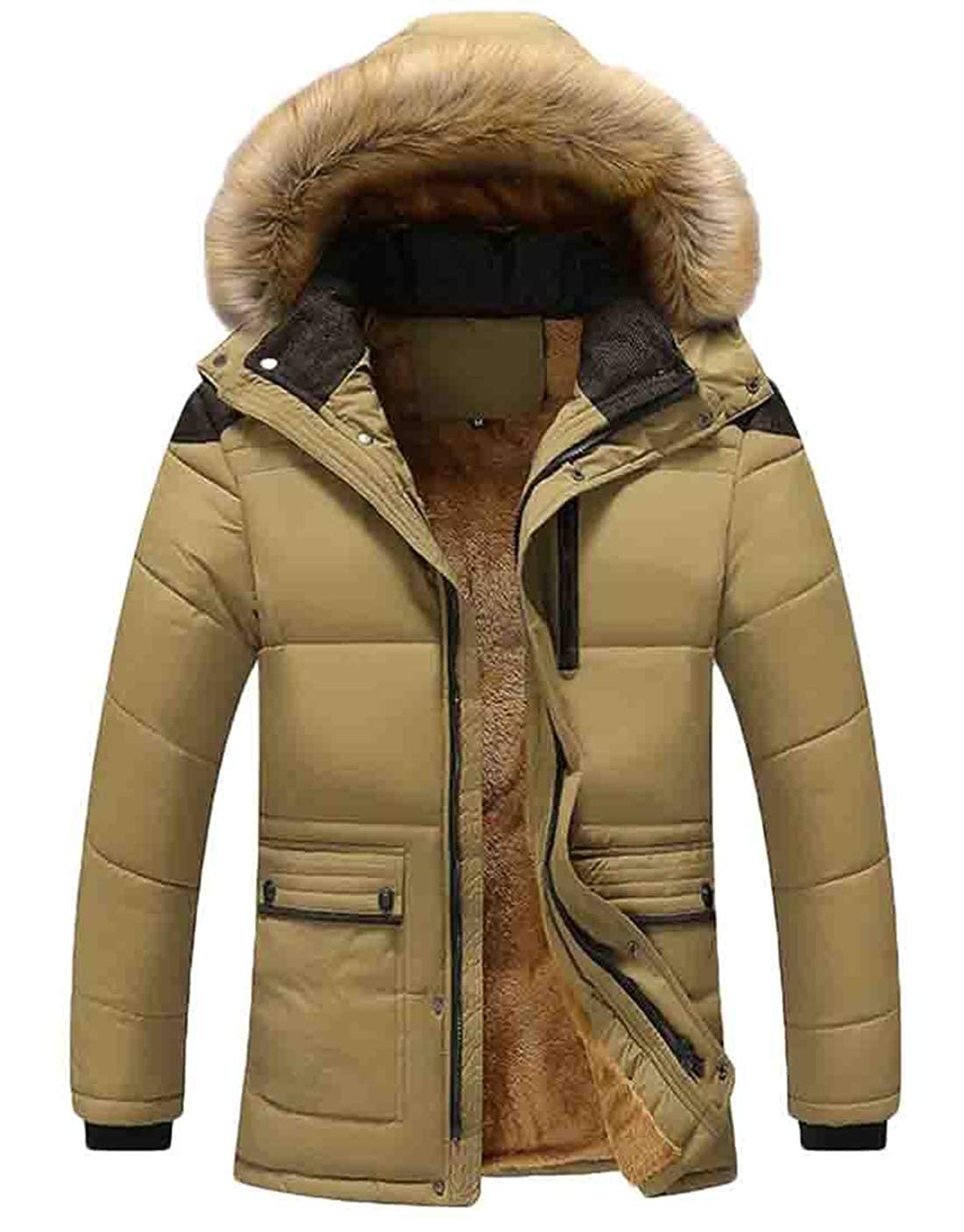 X-Future Men's Winter Hooded Thicken Warm Faux Fur Collar Fleece Lined Down Jacket