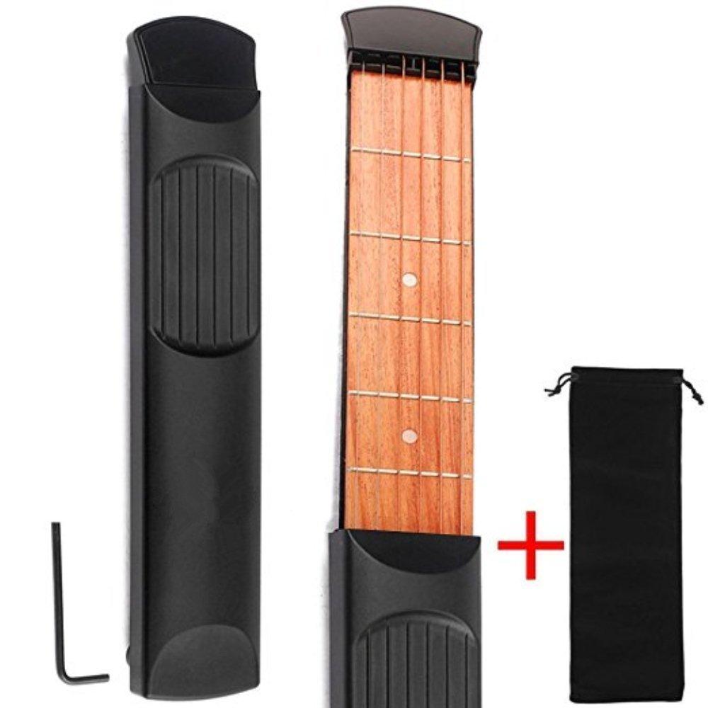 Wooden Pocket Guitar, WMTGUBU Finger Exercise, 6 Fret Portable Guitar Practice Tool Gadget Accessory Music Instrument Gadget For Beginner Chord Trainer, Chord Fingering Pratice Tool wmtgubugn0021