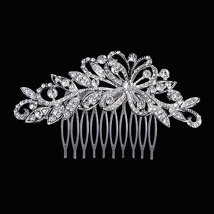 Txian - Forcina per decorare i capelli con farfalle di strass in cristallo  per spose o 68c595255ac0