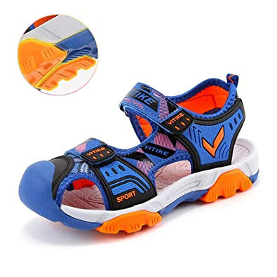 57936d7a493ba5 WETIKE Kids Sandals Girls Summer Sandals Closed-Toe Adjustable Two-Strap Boys  Outdoor Athletic