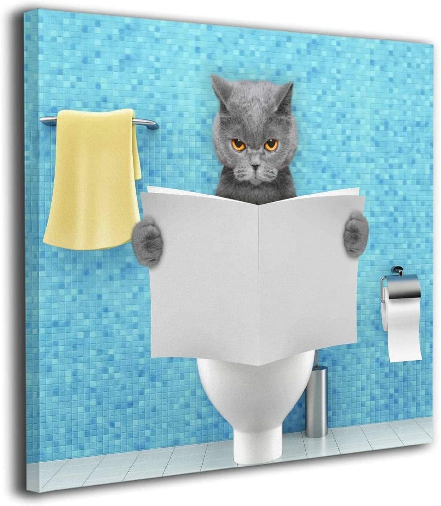 "HIBIPPO Angry Cat Sitting On A Toilet Reading Newspaper Canvas Wall Art Printed Painting Home Decor For Living Room Kitchen 20""x20"" Ready To Hang"