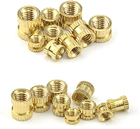 XLX 180PCS 9 Values M3 M4 M5 Knurled Brass Threaded Insert Nut Hydraulic Welded Joint Injection Molding Assortment Kit