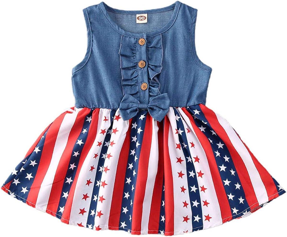 Lamuusaa Toddler Kid Baby Girls Easter Outfit Sleeveless Bunny Dress Sundress Princess Dress Summer Clothes 1-6Y
