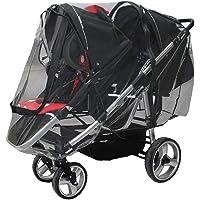 Rain Cover for Double Stroller,Tandem Stroller Weather Shield, Universal Size, Two Zip Windows,Waterproof, Windproof
