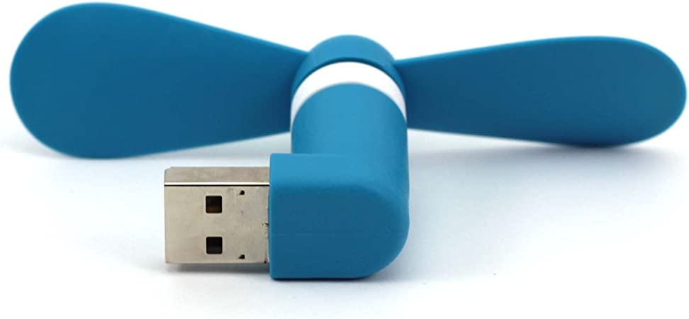 Mini Ventilateur Portable Electrique Micro USB Bleu